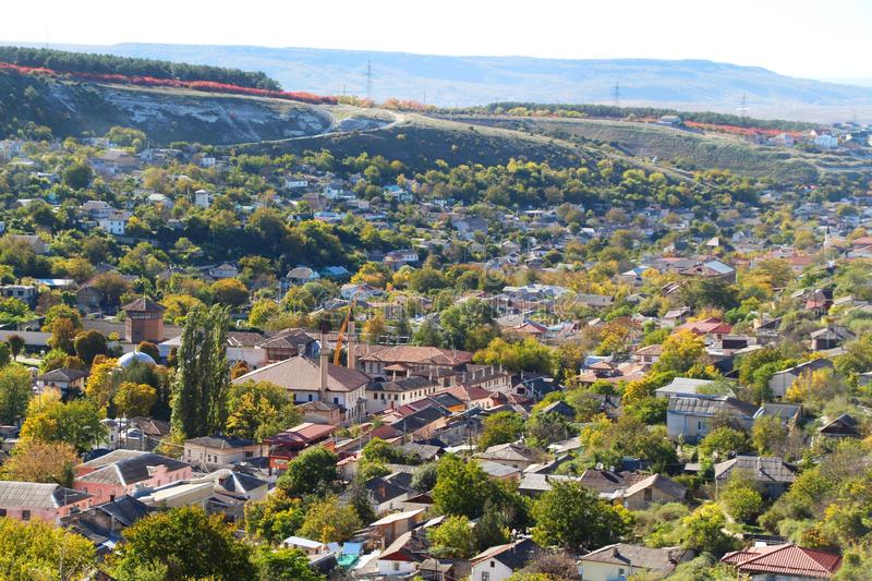 Aerial view on the central part of Bakhchisarai city. Top down view on the old part of Bakhchisarai city on the Crimean Peninsula. Bakhchisaray Palace, also stock photography
