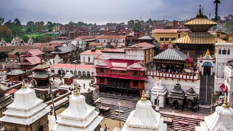 Top down view of old sacred hindu place. Pashupatinath Temple in royalty free stock photo