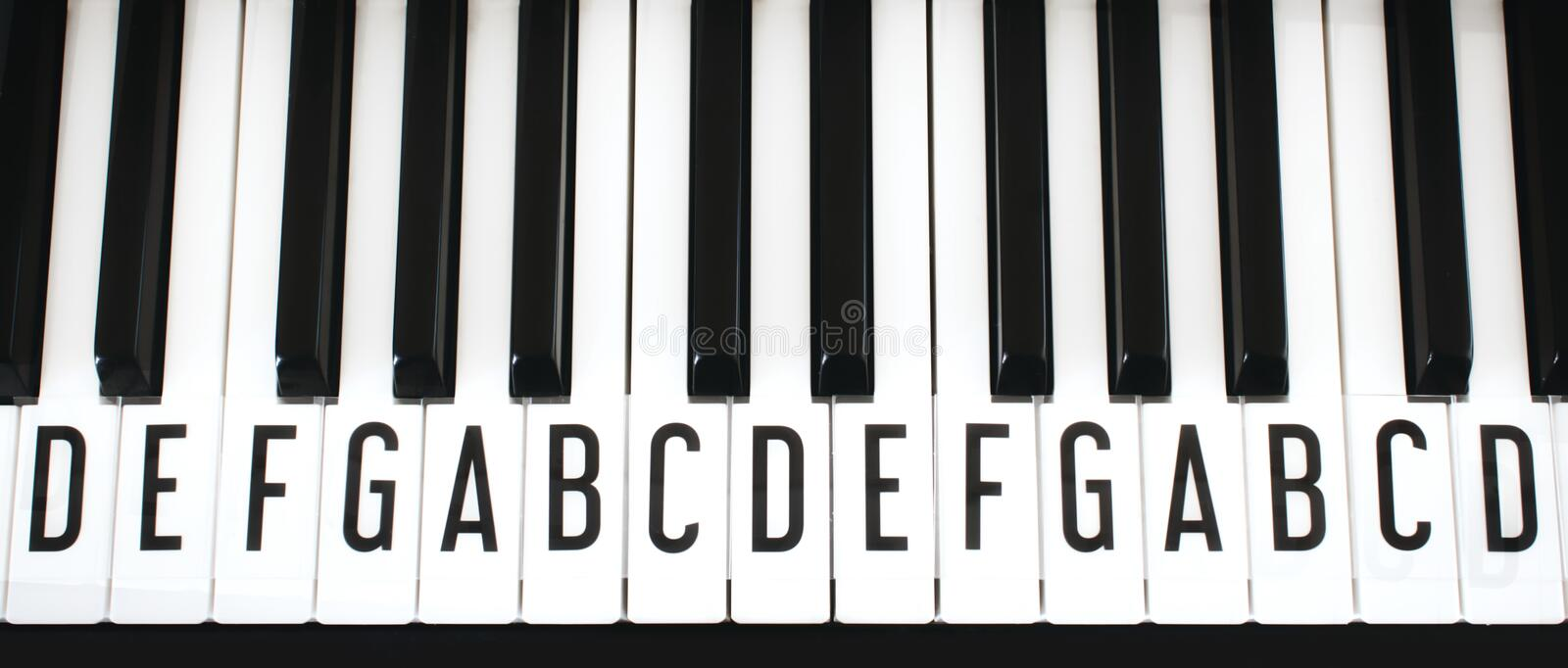 Top-down view of piano keyboard keys with letters of notes of the scale superimposed stock photography