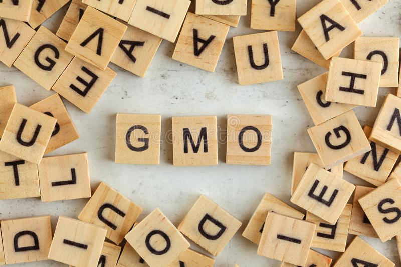 Top down view, pile of square wooden blocks with letters GMO stands for Genetically Modified Organism on white board royalty free stock image