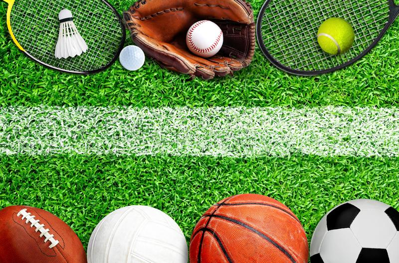 Sports Equipment on Field With Painted Marking on Grass stock photo