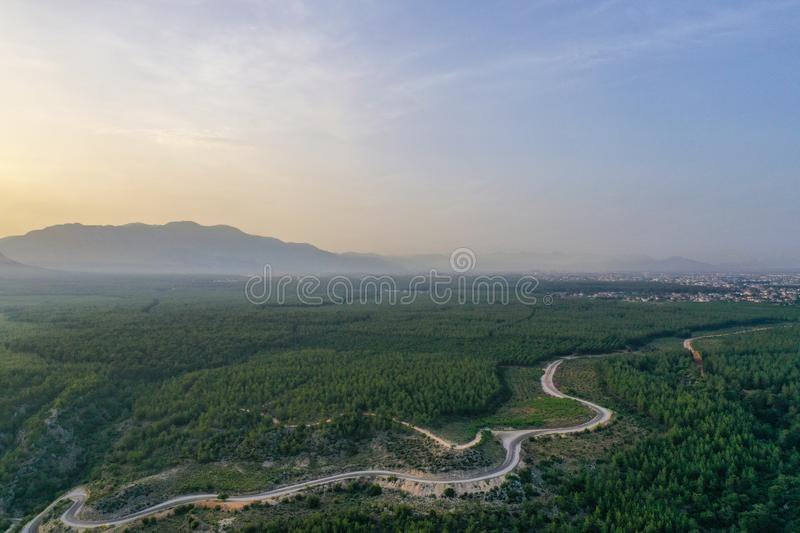 Top down view of road bending through trees at sunset royalty free stock image