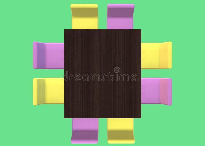 Top down view of some tables and colourful chairs as in an office meeting room set up royalty free illustration