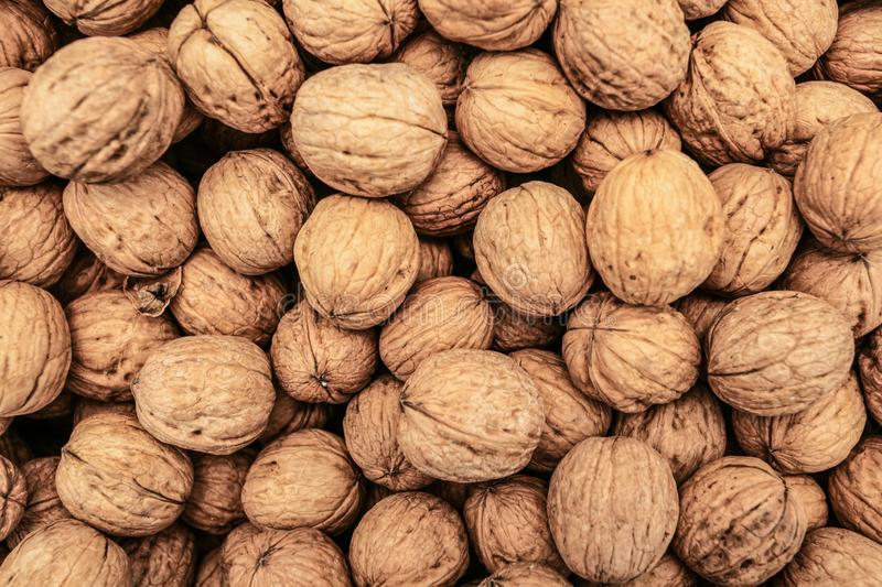 Top down view, whole walnuts displayed on food market in Kyrenia, Cyprus stock images