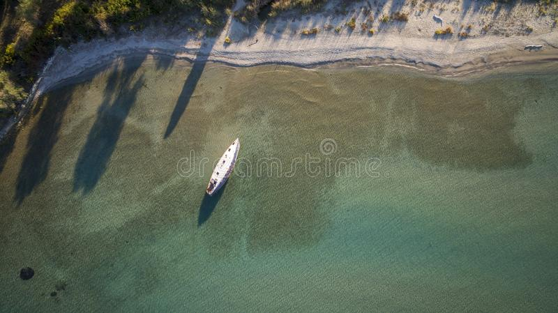 Top drone view of a shipwreck in Corfu Greece.  stock image
