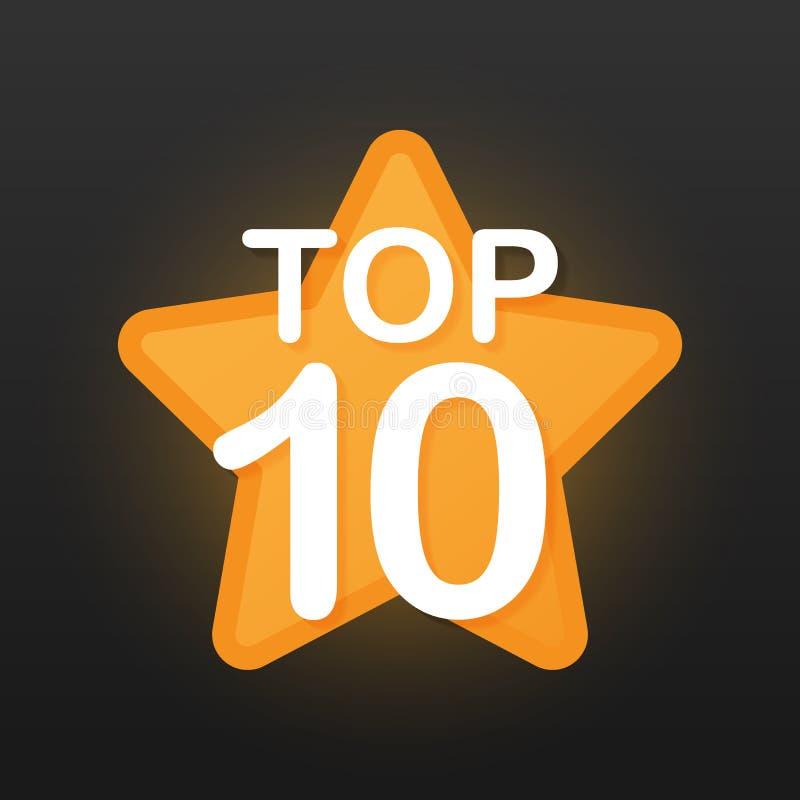 Top 10 - etiqueta del oro del Top Ten en fondo negro Ilustración del vector ilustración del vector