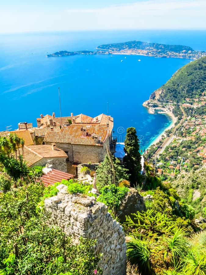 On the top of the Eze village. Provence, France. Exotic garden on the top of the Eze village. Provence, France royalty free stock photo