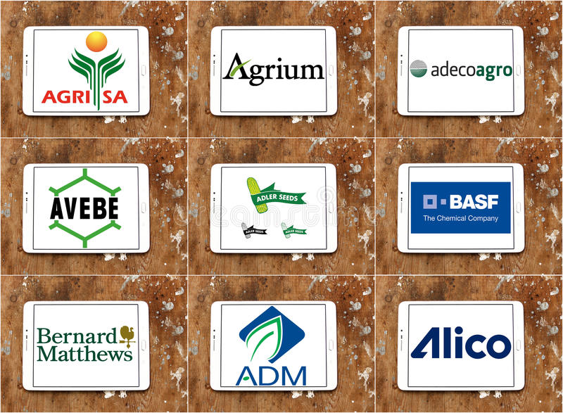 Top famous agriculture companies logos and brands royalty free stock image