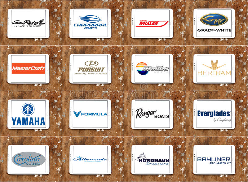 Top famous boat and yacht brands and logos stock illustration