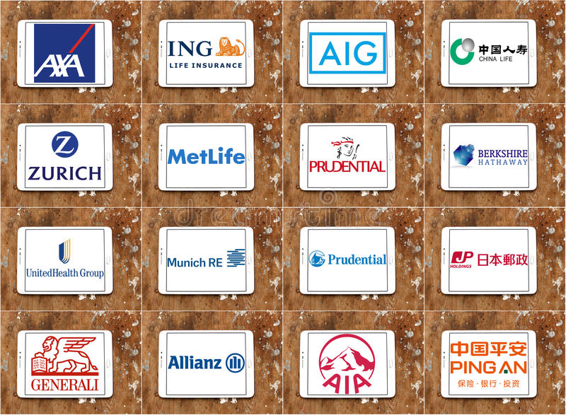 Top famous insurance companies logos and brands. Collection of logos and brands of most popular insurance companies on white tablet on rusty wooden background stock photos