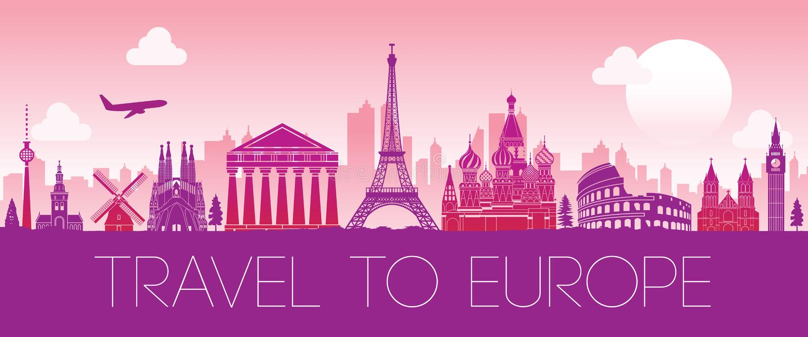 Top famous landmark of Europe,silhouette design pink color royalty free illustration