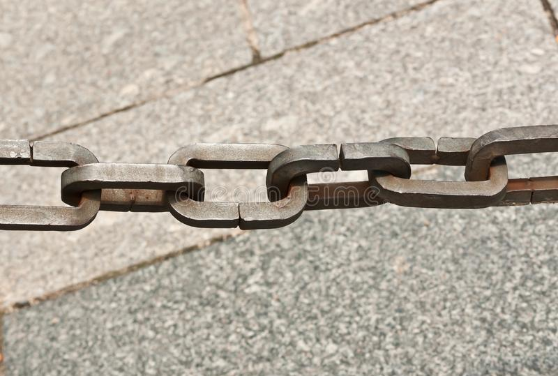 Artisan, handmade steel, chain links as a barrier to tourist from a private location Madrid, Spain stock photography