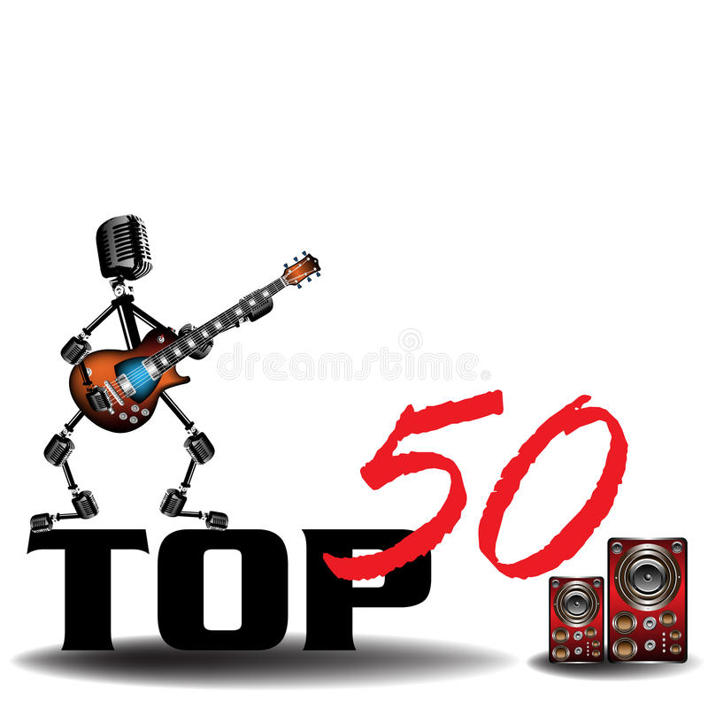 Top fifty. Abstract colorful illustration with guitar player made from microphones standing on the text top fifty near some colored loudspeakers stock illustration