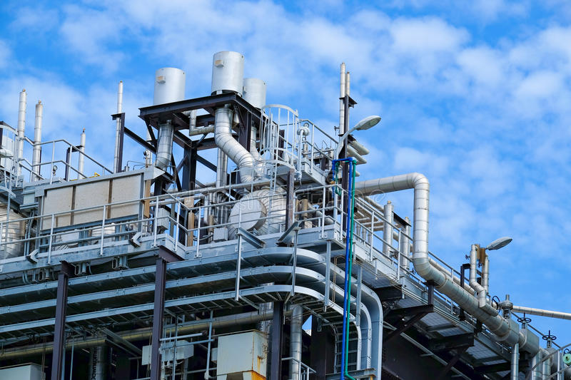 Top floor of boiler or HRSG of combine cycle power plant stock image