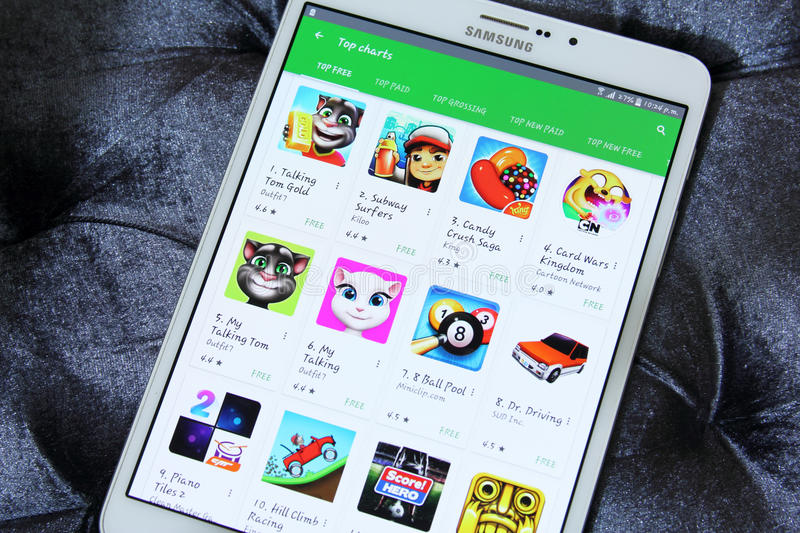 Top free games in google play store. List of top free games applications on google play store on samsung tab s2 like subway, talking tom, candy crush saga stock image
