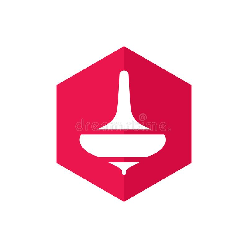 Top Gasing Toys and Shiny Red Hexagon Shape, Vector Logo or Icon Design.  stock illustration