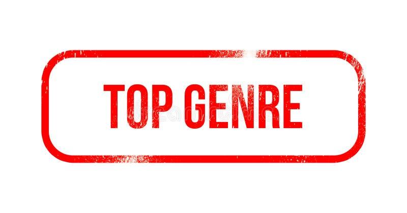 Top genre - red grunge rubber, stamp.  vector illustration