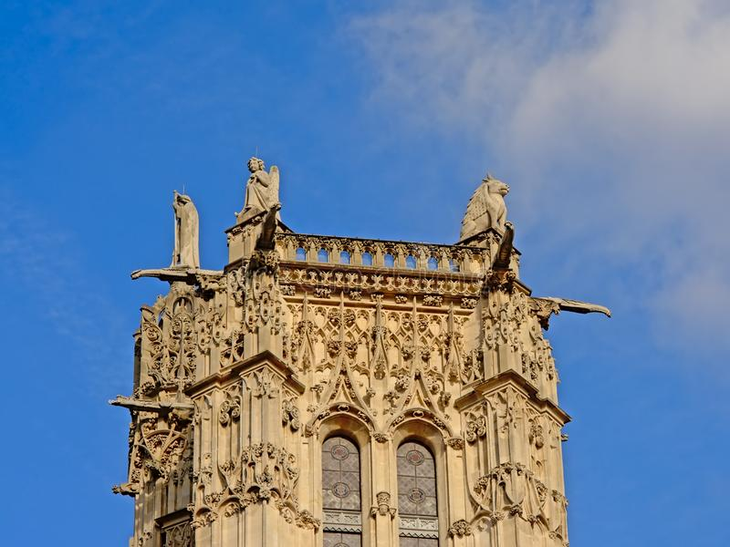 Top of medieval Saint-Jacques Tower, Paris, France, on a clear blue sky stock photography