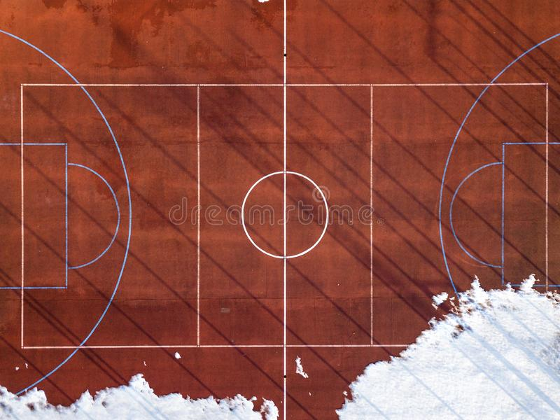 Top graphic view of basketball, volleyball or football court field red background, drone photography royalty free stock photos