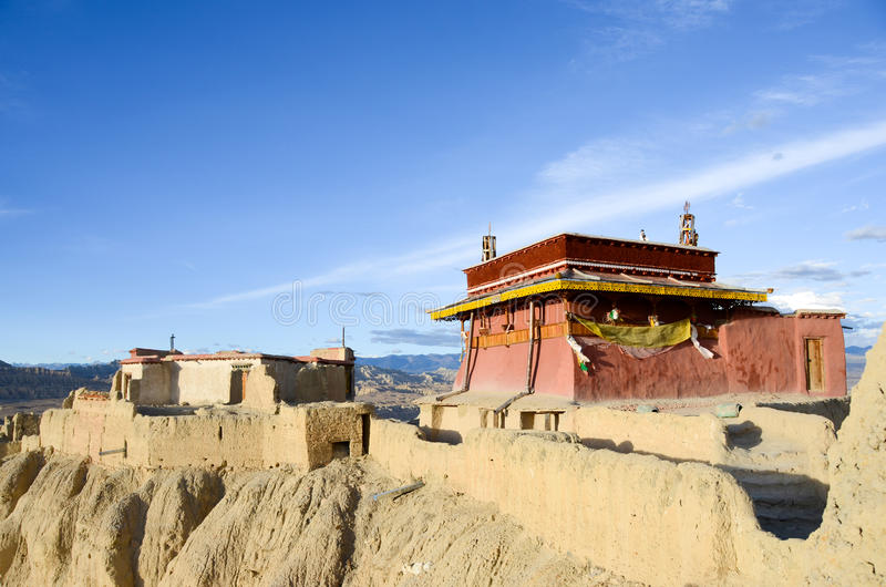The top of Guge dynasty ruins in Tibet. Is an ancient kingdom in Tibet guge dynasty, here is the ruins of guge dynasty.Red house lived religious leader of the royalty free stock images