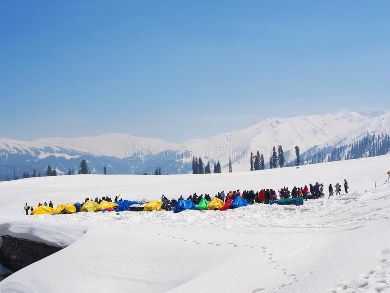 Top of Gulmarg Snow Field, Kashmir India in the Winnter,Kashmir, India - April 16th, 2017. Top of Gulmarg Snow Field, Kashmir India in the Winnter Time, Kashmir stock image