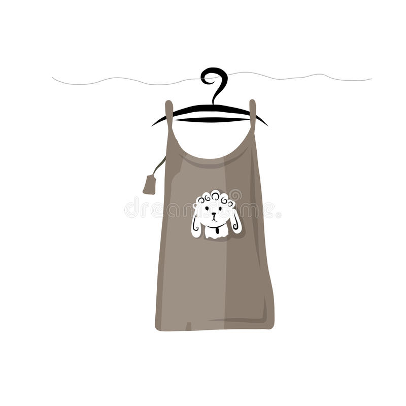 Top on hangers with funny sheep design stock illustration