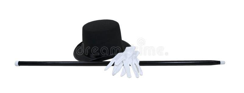 Top Hat Black Cane White Gloves stock photo