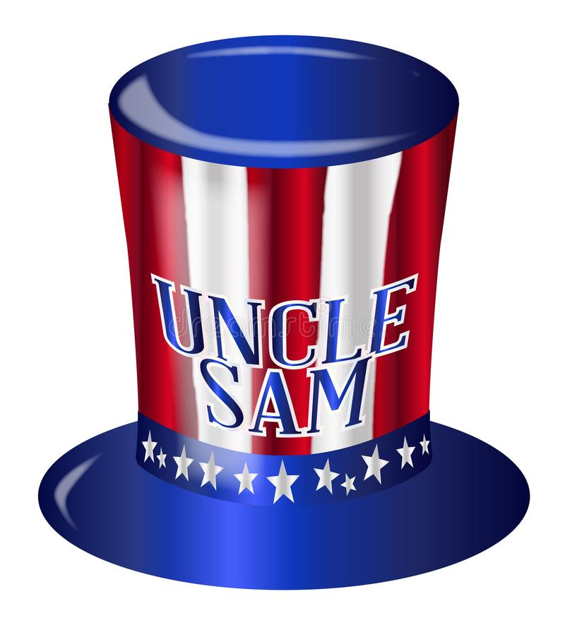 Uncle Sam Flag Hat. A top hat with a star spangled banner colors and stars over a white background with the legend Uncle Sam vector illustration