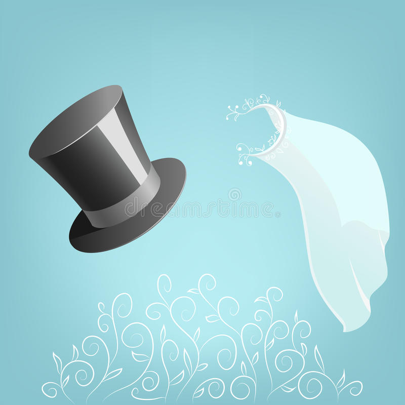 Top Hat And Wedding Veil With Floral Ornament Royalty Free Stock Image
