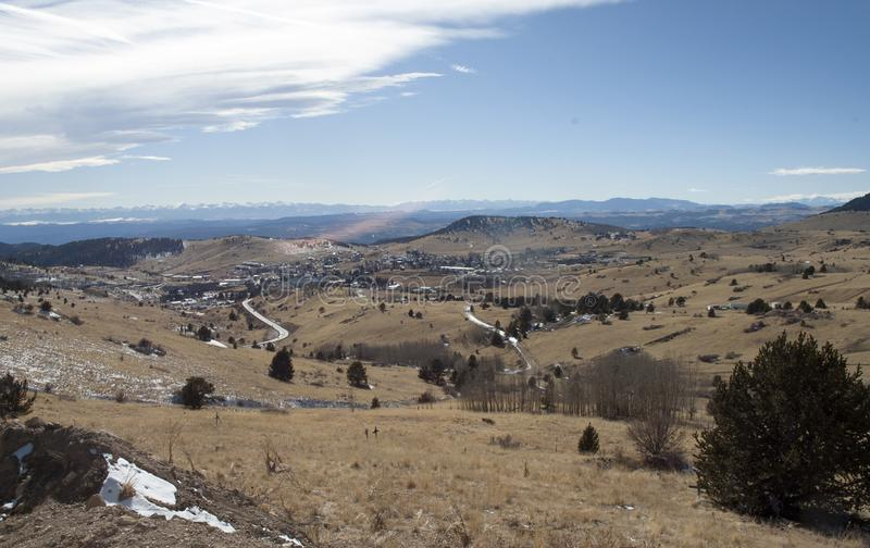 Cripple Creek is near. On top the hill going into Cripple Creek to spend time at the casinos royalty free stock images