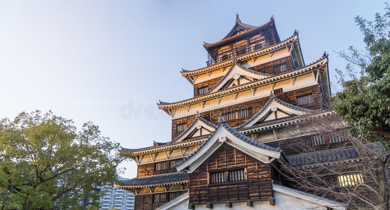 The top of Hiroshima Castle. From the garden royalty free stock photo
