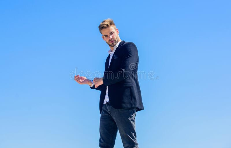 On top of his career. success concept. confident businessman. Handsome man fashion model. sexy macho man. male grooming stock photos