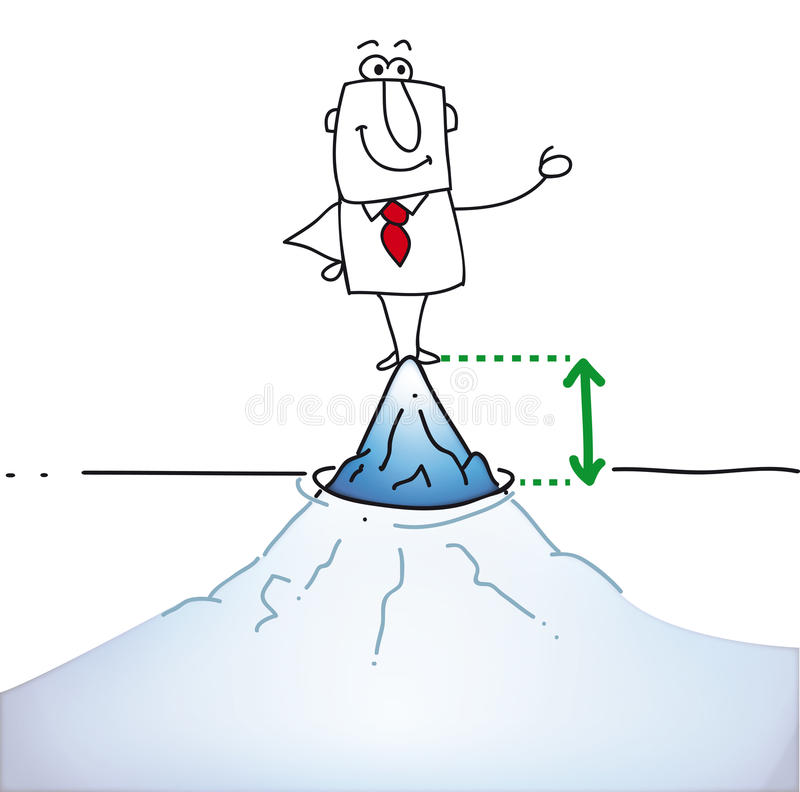 Top of the iceberg. Joe is on tip of the iceberg. It's a metaphor, he knows ten percents of his potential vector illustration