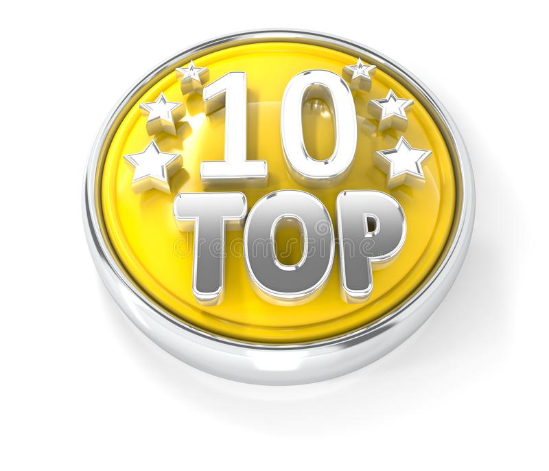 TOP 10 icon on glossy yellow round button royalty free illustration
