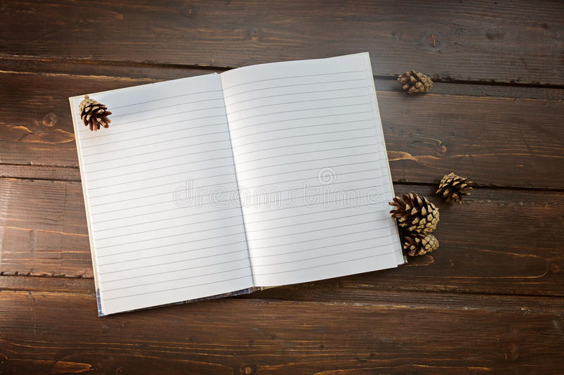 Top image of open notebook with blank pages, next to pine cones. Over wooden table. Flat lay style stock photo