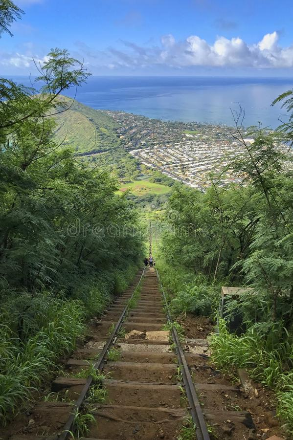 From the top of the Koko Head crater Hike on Oahu, Hawaii. Hiking up and dpwn Koko Head crater located on Oahu Hawaii stock images