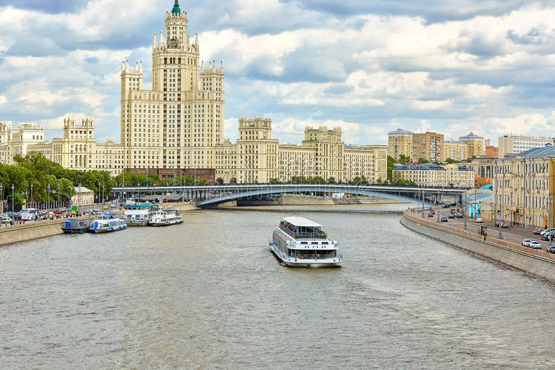 It is a top landmark of the city. Panorama of the Moscow center with Moskva River. Beautiful cityscape of Moscow in stock photo