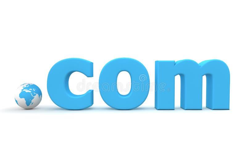 Top-Level Domain - World Dot Com. Blue 3D globe with top-level domain com in blue - tiny globe replaces the dot stock illustration