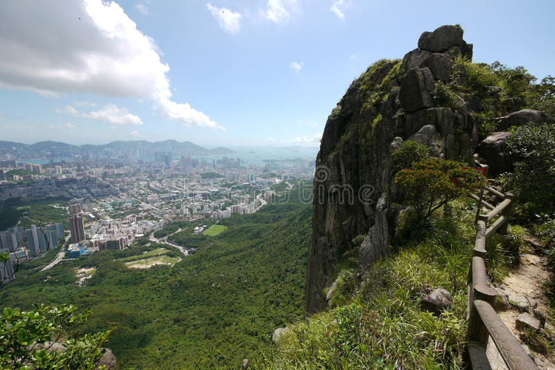 On top of Lion Rock stock photo