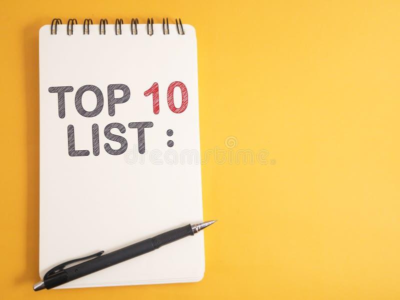Top 10 Liste, inspirierend Motivzitate des Geschäfts lizenzfreies stockbild