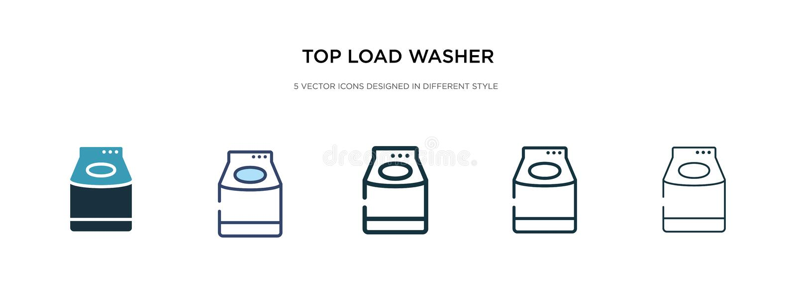 Top load washer icon in different style vector illustration. two colored and black top load washer vector icons designed in filled royalty free illustration