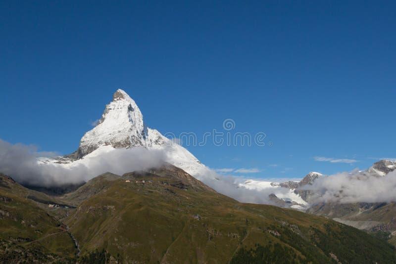 Top of Matterhorn with snow with deep blue sky royalty free stock photos