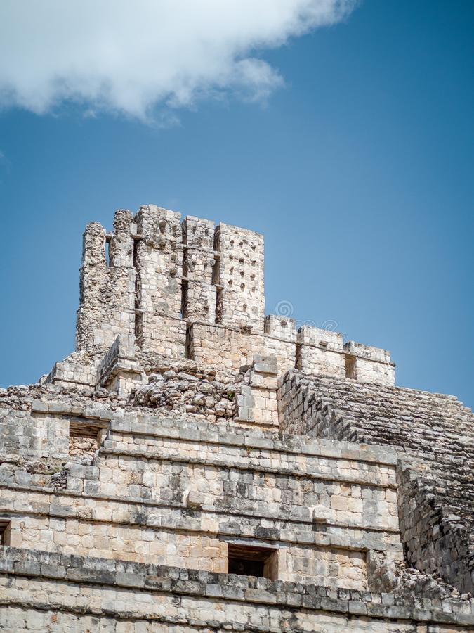 The top of a Mayan temple at the archaeological site of Edzna in Campeche, Mexico royalty free stock photo