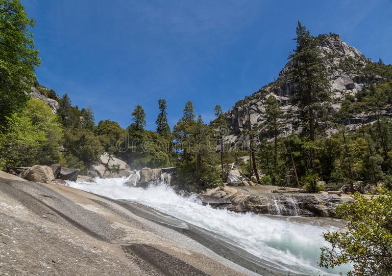 At the top of Mist Falls, Kings Canyon, CA royalty free stock photography