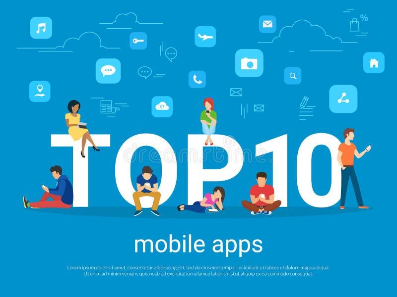 Top 10 mobiele apps en mensen met gadgets die smartphones gebruiken royalty-vrije illustratie