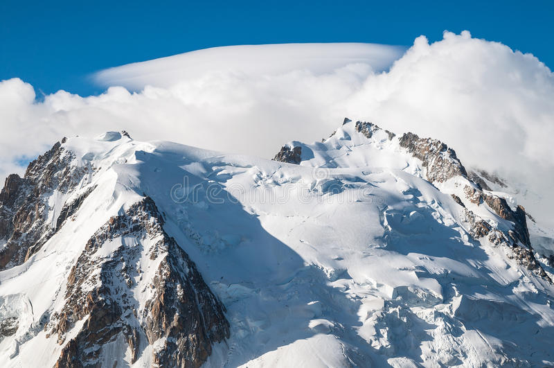 Top of Mont Blanc, Glacier. View of the Mont Blanc from Aiguille du Midi near Chamonix in France stock photos