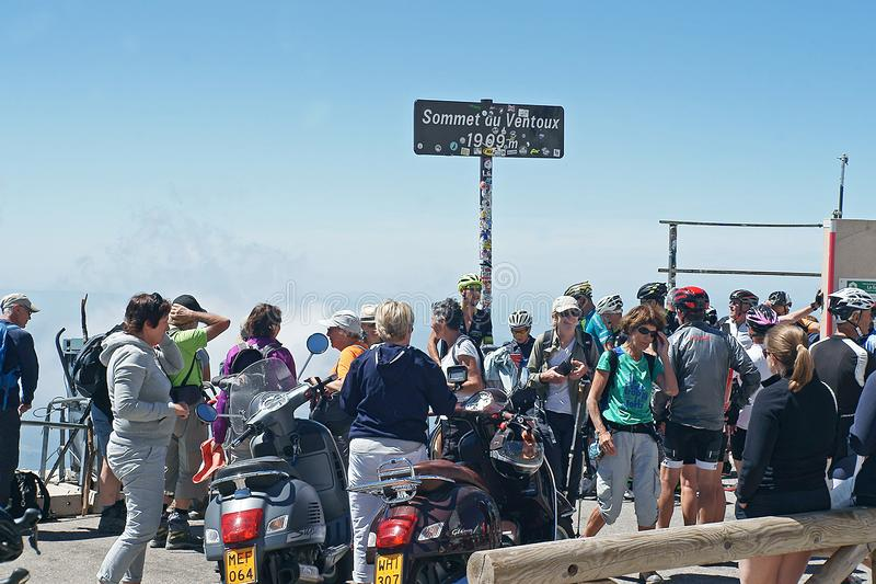 On top of Mont Ventoux photos were made from the successors royalty free stock images