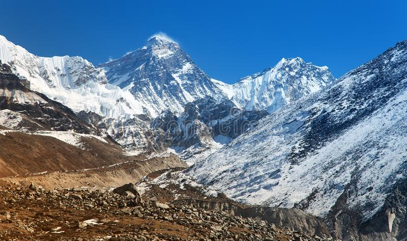 Top of Mount Everest from Gokyo valley. With southern saddle and Lhotse - way to Everest base camp - Nepal stock image