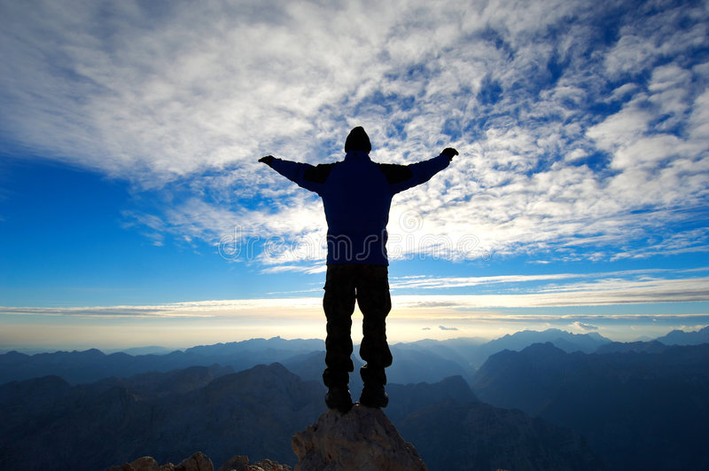 On top of the mountain royalty free stock photography