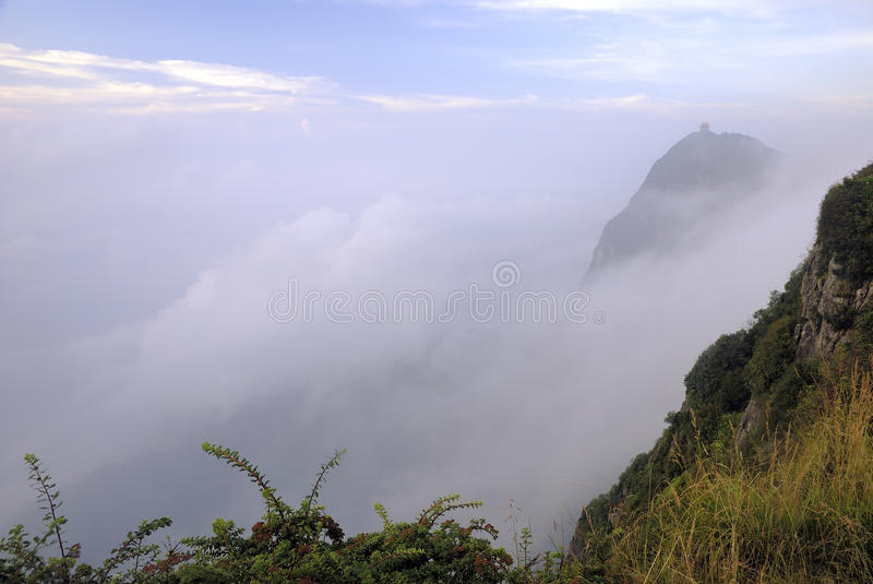 Top of mountain Emei scenery stock photography